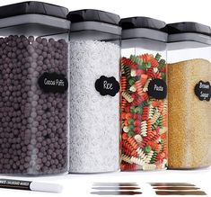 (This is an affiliate pin) Chefs Path Airtight Storage Container Large Food Storage Containers, Oxo Pop Containers, Dry Food Storage, Cake Baking Pans, Chalkboard Markers, Cereal Dispenser, Plastic Canisters, Cool Kitchen Gadgets, Cookware Set
