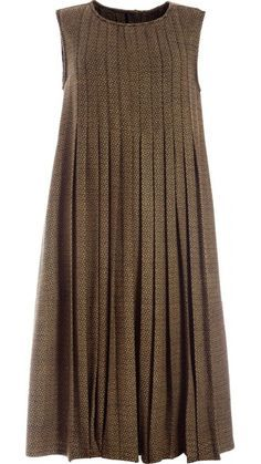"""</p> <p class=""""p1"""">Sleeveless round neckline dress in olive green handwoven wool.Front and back panels with stitched pleats, open below waistline.Side seam pockets.Mother-of-pearl buttons fastening to the back.</p> <p class=""""p1""""></p> <p class=""""p1"""">100% Wool</p> <p style=""""font-size: 12.1599998474121px; line-height: 15.8079996109009px;"""">"""