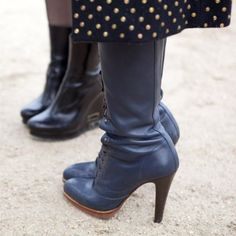 Blue boots and polka dots