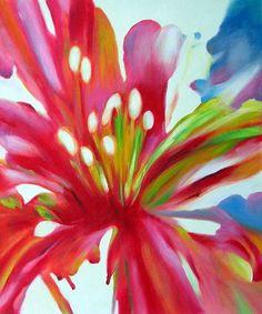 Peinture moderne de fleurs. Huile sur toile. Montée sur châssis. Orientation verticale