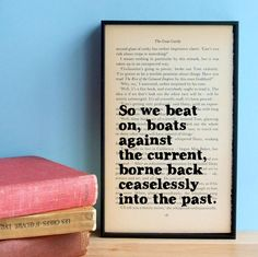 The Great Gatsby quote So we beat on vintage book by wallenvyart, £24.75
