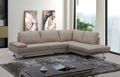 Stylish Design Furniture - Divani Casa Knight Modern Beige Leather Sectional Sofa, $1,695.00 (http://www.stylishdesignfurniture.com/products/divani-casa-knight-modern-beige-leather-sectional-sofa.html)