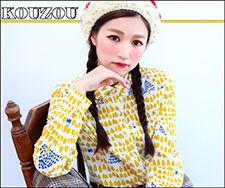 ⊙KOUZOU⊙【C100215】滿版小黃山燈芯絨長袖襯衫.杏 (現貨+預購) - *KOUZOU*