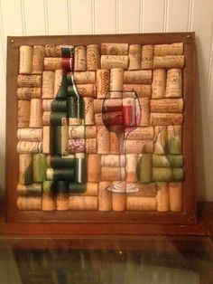 Wine Bottle and Glass Painting on Cork with Pears by WineALotMore