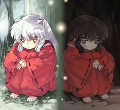 Child InuYasha in half-demon form and human form - InuYasha; fan art
