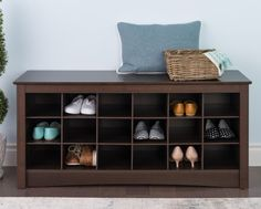 Everett Espresso Casual Style Wood Shoe Storage Cubbie Bench Home Furniture #wood #shoestorage #benches #rack #shoerack #furniture #home