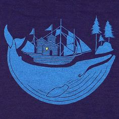 Animal, blue whale, whale, ocean, nautical, pine trees, forest, ship, boat, blue, log cabin, woods, outdoors, sea