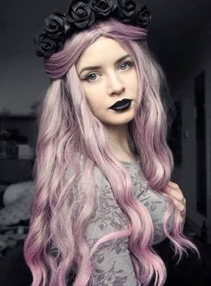 Beautiful pink hair and black roses hairband