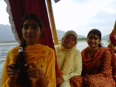 Aziz's family on Shikara boat ride on Dal lake, Kashmir