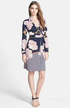 Diane von Furstenberg 'New Jeanne' Silk Wrap Dress available at #Nordstrom. Such a flattering mix of pastels and neutrals.