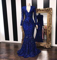 Material: Sequins Body Shape: All Sizes Silhouette: Trumpet/Mermaid Train: Sweep/Brush Hemline: Floor-Length Neckline: V-Neck Sleeve Length: Long Sleeves Back Details: Zipper-Up Embellishments: Sequins Occasion: Formal,Evening * Source by Dresses Black Girl Prom Dresses, Royal Blue Prom Dresses, Cute Prom Dresses, Prom Outfits, Prom Dresses With Sleeves, Pretty Dresses, Homecoming Dresses, Sexy Dresses, Summer Dresses