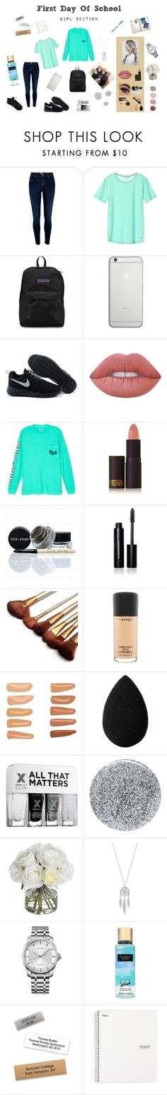 """""""First Day Of School  ♡"""" by hey-its-daisy ❤ liked on Polyvore featuring Terre Mère, River Island, JanSport, Native Union, Lime Crime, Tt Collection, Victoria's Secret, Lipstick Queen, Bobbi Brown Cosmetics and MAC Cosmetics"""