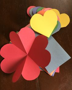 Easy, fun 3 fold origami heart valentines cards