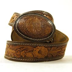 60s Tooled Leather Belt with Tooled Leather Horse by SpunkVintage, $42.00