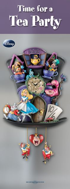 Celebrate the topsy-turvy world of Disney's Alice in Wonderland! It's always time for a tea party with this fully-sculpted cuckoo clock featuring all the beloved characters from the classic animated film. It lights up and features glow-in-the-dark details too!