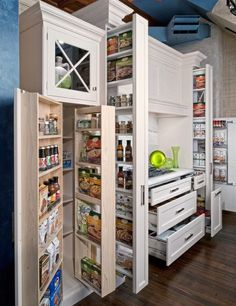 Great idea for multi door shallow storage instead of deep shelves in a deep cavity or pantry.