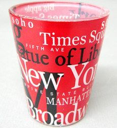 NYC Landmarks Red Shot Glass