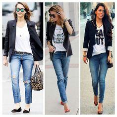 Calça jeans + blazer preto
