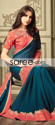 BLUE GEORGETTE SAREE WITH LACE  #Saree #ChiffonSarees  #GeorgetteSarees #IndianSaree #Sarees  #SilkSarees #PartywearSarees #WeddingSarees #BuyOnline #OnlieSarees #NetSarees #DesignerSarees #SareeFashion