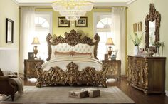 Homey Design 5 pc Romanesque II renaissance style king bedroom set with tufted padded carved headboard and footboard. This set includes the Bed , 2 - Nightstands , Dresser and Mirror. Bed measures H. Luxury Bedroom Sets, King Bedroom Sets, King Bedding Sets, Bedroom Furniture Sets, Luxurious Bedrooms, Bedroom Decor, Master Bedroom, Luxury Bedding, Royal Bedroom