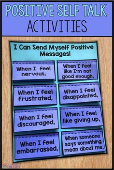 These positive self talk activities are great for building positive self esteem for kids. Coping Skills List, Coping Skills Activities, Mental Health Activities, Social Skills Lessons, Counseling Activities, Therapy Activities, Social Activities, Life Skills, Anxiety Activities
