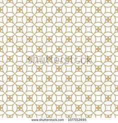 Vector golden ornamental seamless pattern. Subtle geometric texture with rounded mesh, lattice, grid, floral shapes, repeat tiles. Elegant Arabian style ornament. White and gold luxury background