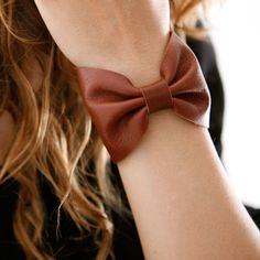 Brown leather bow bracelet by Gabriela Artigas. Leather Cuffs, Brown Leather, Leather Bracelets, Bow Bracelet, Leather Material, Mom Style, Passion For Fashion, Bows, Style Inspiration