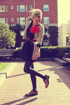 outfit with brogues. The only thing that bothers me is that huge flower. Lol.