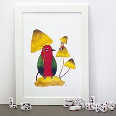 It's raining!Don't worry we won't be wet we have mushrooms.   Art print illustration is available in my #Etsy shop Link is in my BIO by matejalukezic