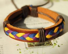 Brown Leather Cuff and Fashion Cotton Thread by Colourfashion, $3.50