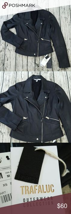 Zara Leather Moto Jacket Worn once. Too fitting for my taste. Runs small. Size medium fits like a fitted med or perfect for a size small. Real leather. Includes extra button snaps. Very soft and cute. Zara Jackets & Coats