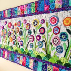Flower applique mini quilt