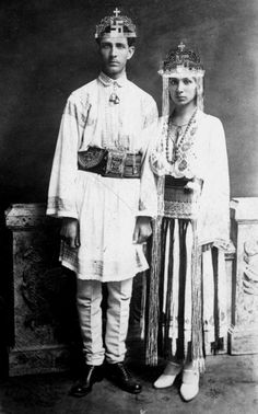 Corneliu Zelea Codranu, leader and rather mystical figure of the Romanian Fascist Iron Guard alongside his wife during a traditional Romanian Wedding possessing a mystic theme, characteristic of Codranu's philosophies. Romania People, Powerful Pictures, Central And Eastern Europe, Aesthetic Words, Archangel Michael, Second World, St Michael, Andy Warhol, Historical Photos
