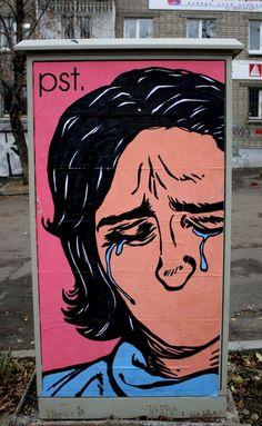 Social criticism. Street Art by #pst