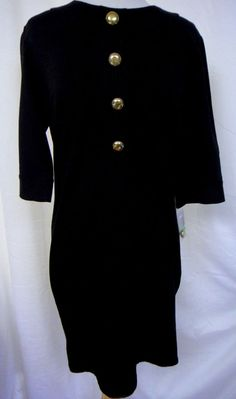 Authentic Taylor Sz 8 Little Black Stretch Dress Large Gold Dome Buttons New #Taylor #Sheath #LittleBlackDress  #fashion #style #designer #career #shopping