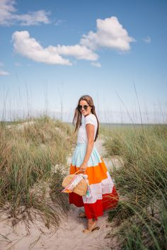 Outfit Details: Madewell Tee, MDS Stripes Skirt (dress version here and here), Carrie Forbes Sandals (old, similar here and here),… Inverted Triangle Fashion, Preppy Style, My Style, Boho Style, Ch Carolina Herrera, Striped Maxi Skirts, Gal Meets Glam, Girl Inspiration, Modest Fashion