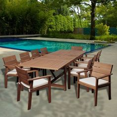 Gerald 11-Piece Eucalyptus Extendable Rectangular Patio Dining Set with Off-White and Beige Striped Cushions