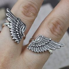 Wings Ring Set Best Friends Friendship Silver Plated on Etsy Best Friend Rings, Best Friend Jewelry, Friendship Rings, Friend Friendship, Bff Rings, Angel Wing Ring, Casual Rings, Jewelry Design Drawing, Cute Jewelry