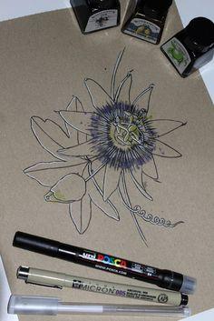 "Day 26: Pasiflora (Flor de la pasión) ""Passiflora caerulea""  #InkTober #InkTober2016 #InkToberEspaña #FloraDaGaliza Inktober, Drawings, Passion Flower, Drawing Drawing, Sketches, Drawing, Portrait, Draw, Grimm"