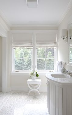 All white bathroom including roman shades. … All white bathroom including roman shades. Bathroom Window Treatments, Bathroom Blinds, Bathroom Window Curtains, Bathroom Window Dressing, Bathroom Bench, Kitchen Blinds, Ideas For Window Treatments, Blinds For Bathroom Windows, Shower Curtains