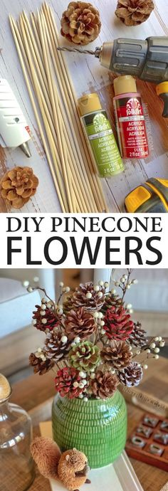 Looking for DIY pinecone crafts to make? Learn how to make these easy painted pinecone flowers with skewer stems! They look charming in a vase for fall, Christmas or any occasion. Upcycled Crafts, Easy Diy Crafts, Diy Crafts To Sell, Sell Diy, Diy Crafts For Adults, Adult Crafts, Pine Cone Crafts For Kids, Pinecone Crafts Kids, Tree Crafts