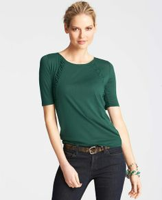 Ruched Inset Short Sleeve Top   Ann Taylor