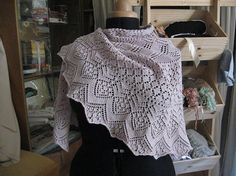 Handknit in France  Victorian Lace Knit Shawl  Pale by SachaKay, $150.00