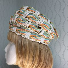 Christian Dior Woven Hat - Green, Blue, Salmon, Yellow, White - 1960's Vintage! by PurpleIrisVintage on Etsy