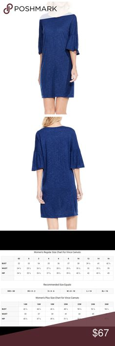 "Vince Camuto Bell Sleeve Knit Dress Vince Camuto Ruched Bell Sleeve Slub Knit Dress.  Ruched Bell Sleeves and breathable slub fabric.  Approximately 34"" Length, Pullover, Crew Neck, Short Bell Sleeves, Unlined,  Material:  Rayon  New with tags.    Size:  XL Vince Camuto Dresses"