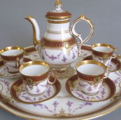 Antique Fischer & Mieg Porcelain Tea Set With Hand Painted Flowers And Lush Gilt   c. 19th Century  -  EBay