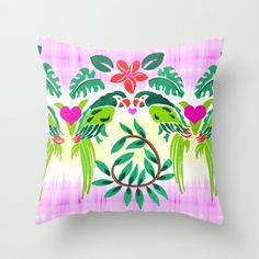 Love Birds Throw Pillow #love #birds #parrots #tropical #paradise #ikat #heart #flowers #art #throw #pillow #for #bedroom #home #gift #romance #decor #accessory