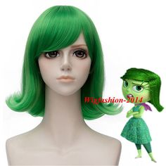 Movie Inside Out Disgust Synthetic Short Wavy Green Hair Anime Cosplay Full Wig #Aicos #FullWig #CosplayConventionTVPartyLittleMermaid