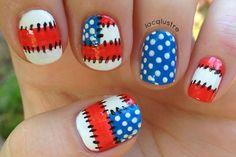 Patriotic patchwork mani for 4th of July. Kinda Dr. Seuss-esque, no?