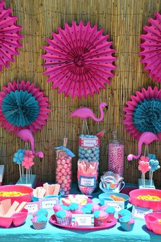 pink and blue flamingo pool party